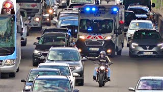 Civilian Motorcycle Escorts Ambulance - Driver Gives Me the Finger with BOTH hands!