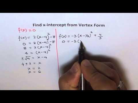 X-Intercepts From Vertex Form of a Quadratic Equation
