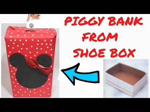 MINNIE MOUSE PIGGY BANK FROM SHOE BOX | WASTE BOX CRAFT | BEST OUT OF WASTE COMPETITION IN SCHOOL