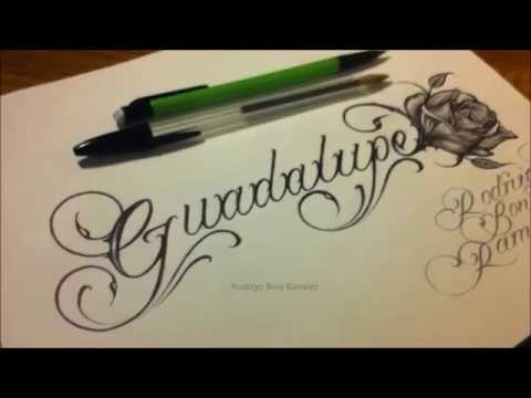Custom Chicano Cursive Tattoo Lettering Guadalupe and Rose Drawing