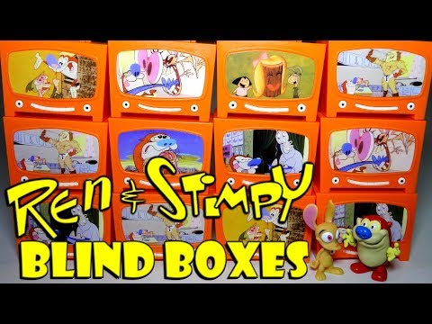 Opening 12 REN & STIMPY Blind Boxes! Mystery Mini Figures and Stickers Surprise