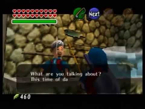 Zelda Ocarina of Time: Catching the Hylian Loach as adult Link.
