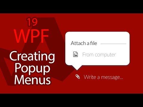 C# WPF UI Tutorials: 19 - Creating Popup Menus