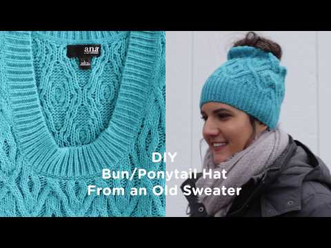 DIY Bun/Ponytail Hat from an Old Sweater