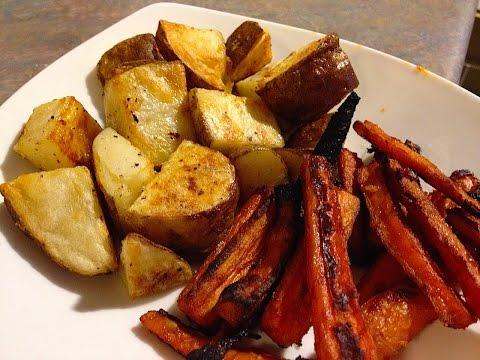 Crispy Roast Potatoes and Spicy Carrots