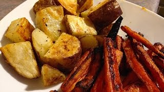 Crispy Roast Potatoes And Spicy Carrots