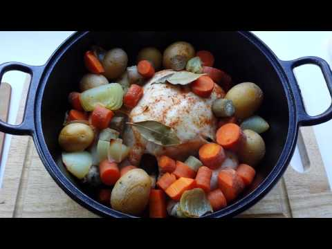 Organic whole roasted chicken in dutch oven
