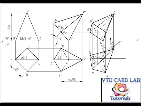 Projection of a square pyramid with corner on HP