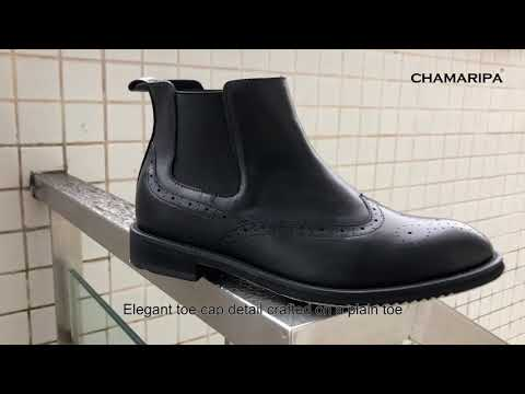 Hidden Height Shoes For Men Elevator Boots Height Increase Chelsea Boots- CHAMARIPA