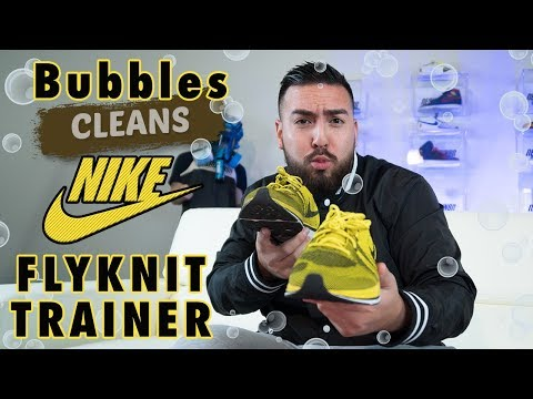 Bubbles clean a pair of Nike Flyknit Trainers