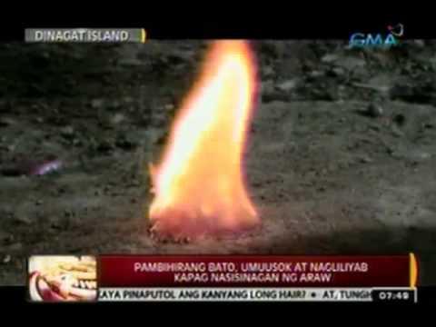 Kakaibang bato, umuusok at nagliliyab tuwing nasisinagan ng araw