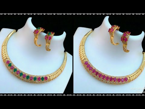 Latest 1 gram gold jewelry with price || 1 gm gold necklace with price