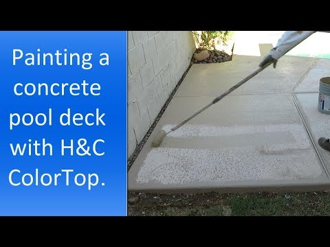 Using H&C ColorTop solid color stain to paint a concrete pool deck.