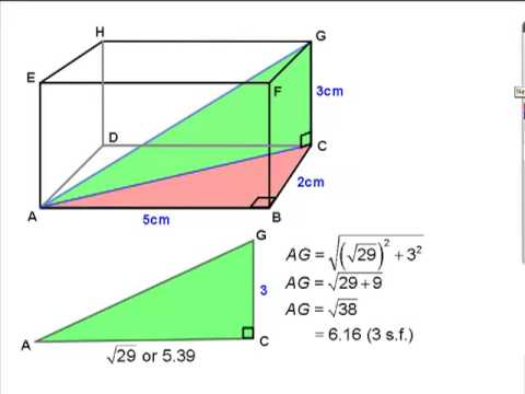 Lengths and angles inside cuboids (rectangular boxes)