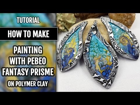 Part 5. Tutorial. Painting with Pebeo Fantasy Prisme on Polymer clay.