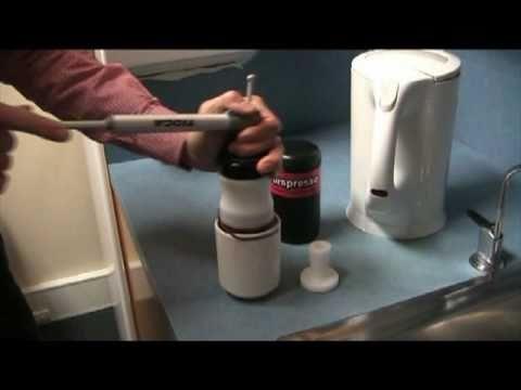 Make an espresso coffee with a bike pump