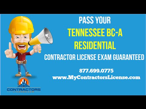 Tennessee BC-A Residential Contractor License 🔨 Pass Your Exam Guaranteed!