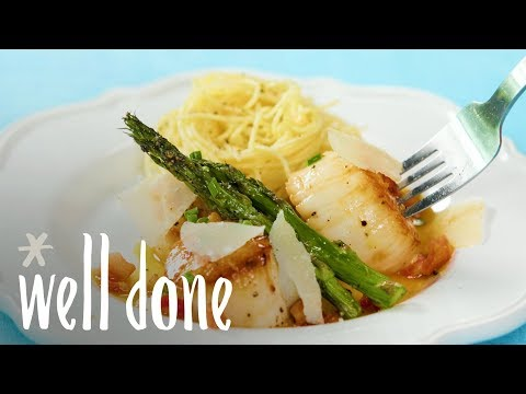 How To Make Pan-Seared Scallops With Asparagus And Pancetta | Recipe | Well Done