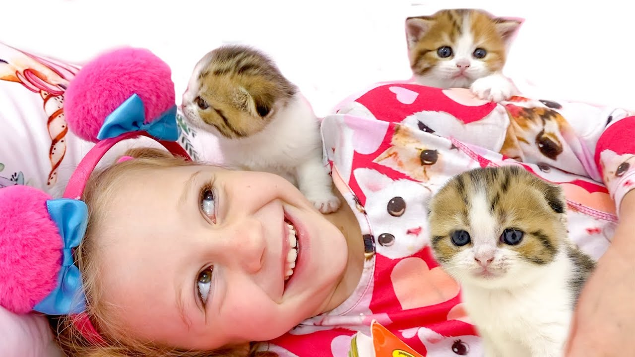 Nastya Learns How To Foster a Kittens