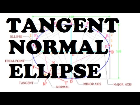 how to draw normal and  tangent on ellipse(arc and circle method) [HINDI]