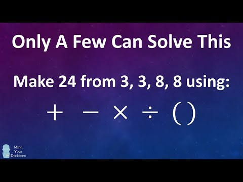 Harder Than It Looks! Can You Make 24 From 3, 3, 8, 8?