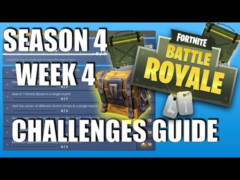 Fortnite - Season 4 Week 4 Challenges Guide | Storm Circles | Search Between a Bench, Ice Cream..