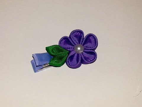 KANZASHI FLOWER Small Simple Ribbon Sculpture Hair Clip Bow DIY Free Tutorial by Lacey in English