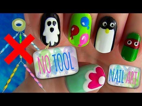 No Tool Nails Tutorial! 5 Nail Art Designs