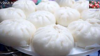CÁCH LÀM BÁNH BAO - Bánh Bao vỏ Bánh trắng, phẳng, mịn và xốp mềm thơm ngon by Vanh Khuyen
