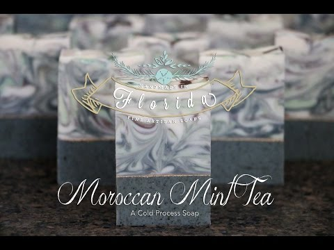 The Making and Cutting of Moroccan Mint Tea Cold Process Soap, Handmade in Florida