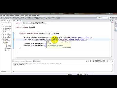 Java Tutorial - Accepting an int value using GUI Input Dialog