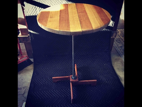 Upcycled wine barrel top and pallet table / video # 16