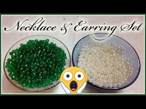 #158 How To Make Pearl Beaded Necklace & Earring set with Eye Pins    Diy    Jewellery Making    Art