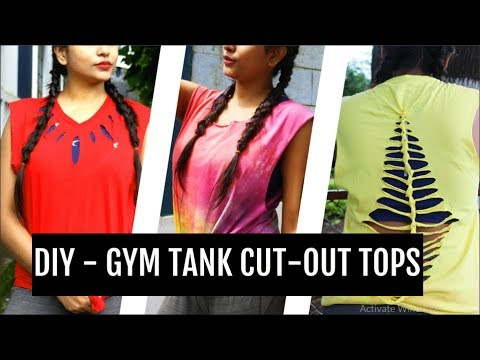DIY - CUT-OUT GYM TANK TOPS | NO SEW