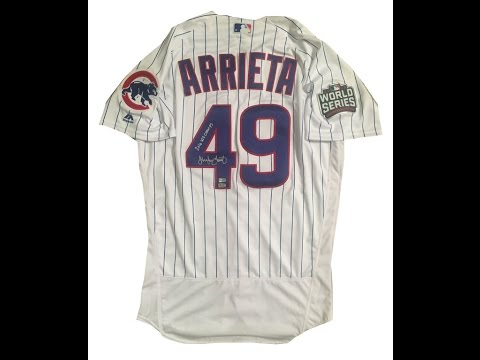 Jake Arrieta Autographed Cubs 2016 World Series Signed Baseball Jersey CHAMPS Fanatics and MLB COA