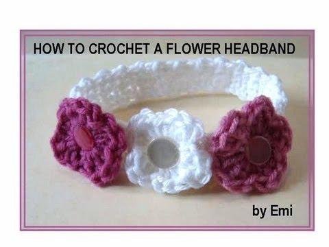 HOW TO CROCHET A FLOWER HEADBAND, any size.