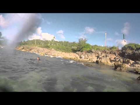 Swimming at Sharks Cove in North Shore, Hawaii