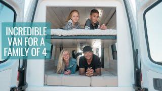FAMILY VAN TOUR: Incredible Bunk Bed System & Full Bathroom | 4x4 Sprinter Van Conversion