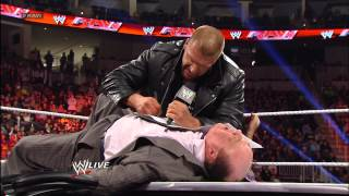 The WrestleMania contract signing between Triple H and Brock Lesnar ends in chaos: Raw, March 18, 20