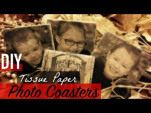 DIY TISSUE PAPER PHOTO COASTERS | YTMM HANDMADE HOLIDAYS |Somers In Alaska Vlogs