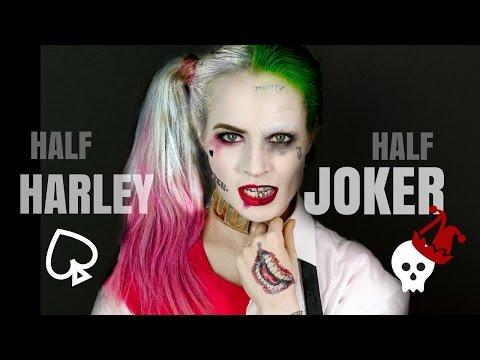 Half Harley Quinn Half Joker Halloween Hair and Makeup Tutorial