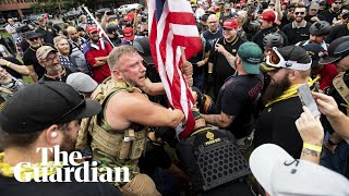 Far-right groups and counter-protesters take to the streets in Portland
