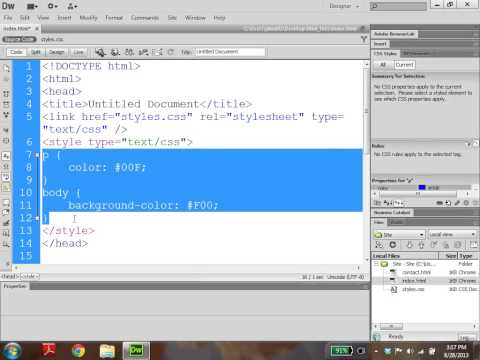 Dreamweaver Tutorial 6: An Easy Way to Create Inline, Internal, and External Styles