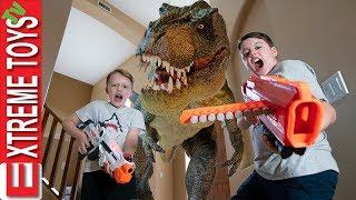 Dream Time in Dinosaur Land! Prehistoric Nerf Laser Tag Battle!