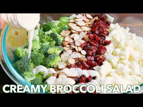 Broccoli Cauliflower Salad with Creamy Honey Lemon Dressing