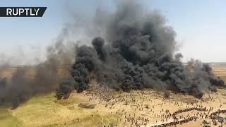 #x202b;قطاع غزة.. طائرة من دون طيار ترصد مسيرة العودة على الحدود مع إسرائيل#x202c;lrm;