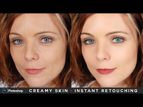 Instant Face Retouching in Photoshop - Creamy Light Skin Makeup Tutorial