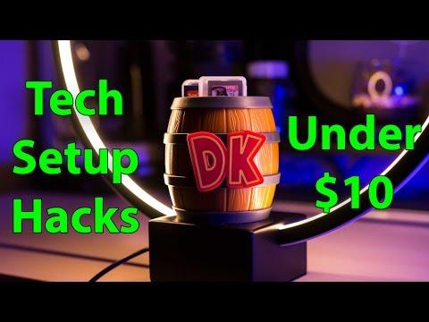 Best Tech Setup Hacks Under $10 - Nintendo Donkey Kong SD Card Barrel - Budget Desk Setups Tip 2017