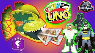 Jurassic World Uno with Black Panther and Batman! Game Play by HobbyKidsTV