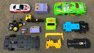 Assemble Green Police Car ,Crane Truck and Garbage Truck | Toy Vehicles Attached by PlayToyTime TV